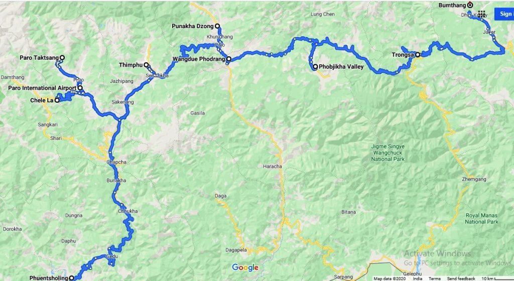 Bhutan Tourist Map with Bumthang & Phobjikha